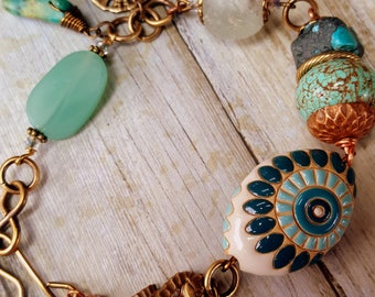 Nautical, ocean, seahorse, sand dollar, Golem Studio Beads, brass, Turquoise, sea glass