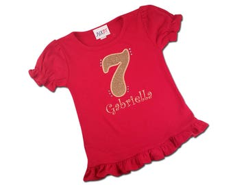 Girl's HOT PINK Birthday Shirt with Glitter Number and Embroidered Name, Includes BLING