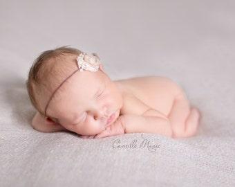 Cream Newborn Tieback, Newborn Baby Toddler Girl Headband, Baby Tieback, Organic Tieback,  Photo Prop, Cream Organic Tieback, Baby Prop