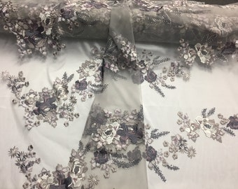 Charcoal multicolor Flowers Embroider On a Mesh Lace-prom-nightgown-sold by The Yard.
