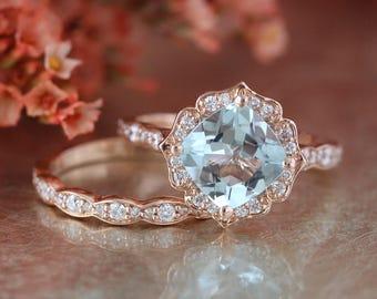 Vintage Floral Aquamarine Engagement Ring and Scalloped Diamond Wedding Band Bridal Set in 14k Rose Gold 8x8mm Cushion Gemstone Ring Set