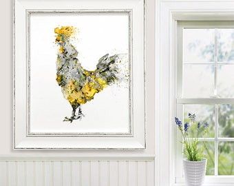 Rooster Art Print, Black and White Watercolor Painting Rooster, Farm Animal Art, Rooster Illustration - B23