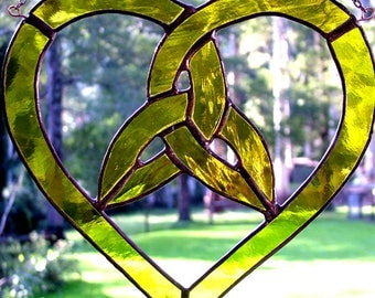Trinity Knot Heart in Yellow Stained Glass Suncatcher, handmade in Australia