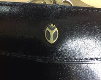 Black wallet, black leather purse, black leather wallet, large wallet, retro wallet, vintage walletgold clasp wallet.Prince wallet,blackgold