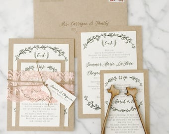 Lace romantic rustic wedding invitation