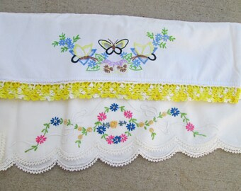 Fabulous Vintage Embroidered Butterfly Pillow Cases. Needlework Pastel Spring Flower Cutwork Crochet  Slips