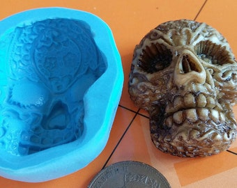 Large Skull Cameo skeleton sculpy silicone fimo mould mold