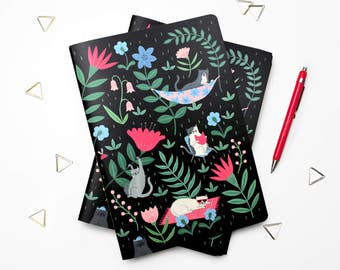 A5 Summer Kitties Notebook | Plain Sketchbook | journal | diary | Illustrated stationery | cute patterned notebook | fun gift | floral