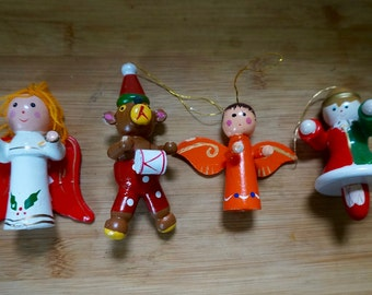 Painted; Wooden; Christmas Ornaments; Set of 4; Various Sizes; Vintage Memories !!!