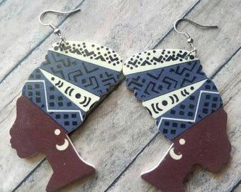 Porpoise Queen Melanin Earrings Dangle Earrings Gifts for Her Statement Earrings Large Earrings Trending Earrings African Head Wrap Earrings