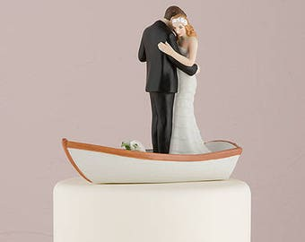Romantic Rowing Rowboat Bride and Groom Wedding Cake Topper - Choose your hair color -  9352