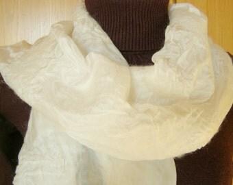 Ponge silk scarf, felt scarf; White; Scarf, women's scarf, silk, wool
