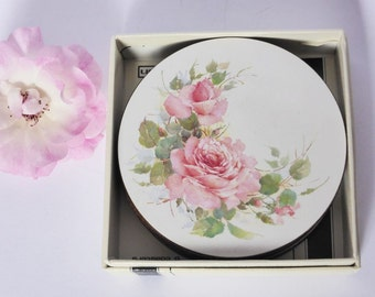 Set of Six Vintage Jason Rose Coasters in Original Box ~ Cottage Chic Roses ~ Rustic French Chic ~ Farmhouse Country Kitchen Decor