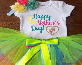 Mother's Day Gift, Mother's Day Baby Outfit, My First Mother's Day Outfit, Baby Girl First Mother's Day Outfit, ohsocutesy