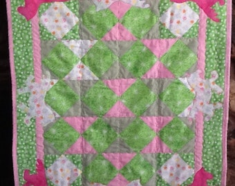 Horse themed baby girl quilt