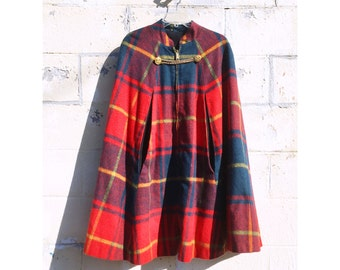 Stunning Plaid 1960s Cape! Red Oversized Plaid Zip Front Lined Jacket Cape Overcoat with Gold Buttons and Chain Detail