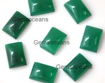 10 Pieces Lot Green Onyx Octagon Shape Loose Gemstone Cabochon