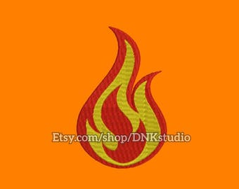 Flame Fire Embroidery Design - 6 Sizes - INSTANT DOWNLOAD