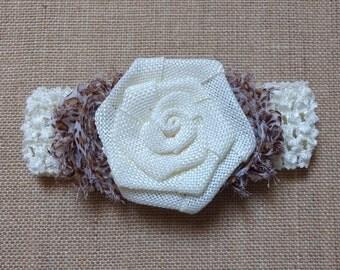 Baby Girl Headband, Rose Headband, Baby Headband, Ivory Headband, Baby Hair Accessory, Newborn Headband, Flower Headband, Shabby Headband