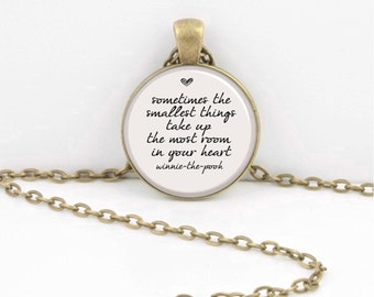 "Winnie-the-Pooh ""Sometimes the smallest things take up the most room in your heart.""  New Mom or Dad Gift Key Ring Necklace  Jewelry"