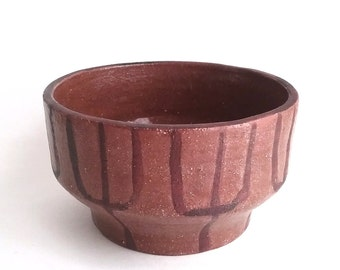 Vtg 70s Planter TRIBAL PATTERNED BOWL - Vintage Terracotta Brown Ceramic Bowl Geometric Design Mid-Century Primitive Style Pottery 1970s