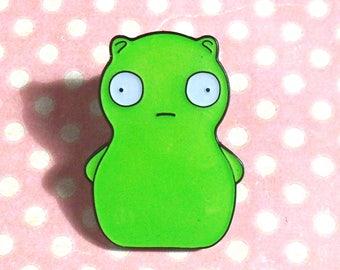Cute green alien glow in the dark pin