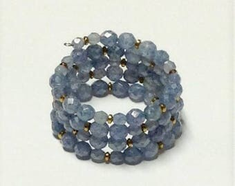 Memory Wire Bracelet with Czech Fire Polished Blue Luster Round Beads