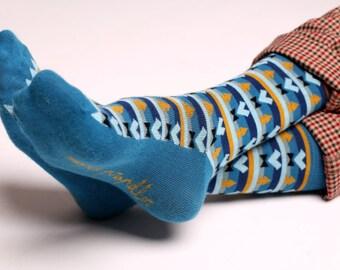 Men's colorful dress socks in blue | Aztec design