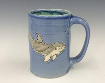 Handmade Mug with Dolphin Drawing. Glazed in Blue & Aqua. MA173