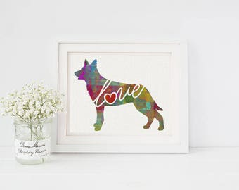 Australian Kelpie Love - A Colorful Watercolor Style Gift for Dog Lovers - Home  & Wall Decor Print That Can be Personalized With Pet's Name