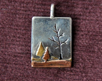 Handmade Mixed Metal Sterling Silver, Copper & Brass Autumn Trees Landscape Pendant