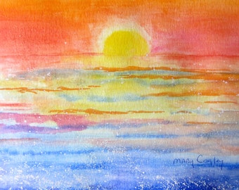 Golden Sunrise - Watercolor Painting PRINT - by Mary Cogley