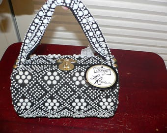 1960s Beaded Barrel Purse by Koppi, Black and White Beaded Purse New With Tag