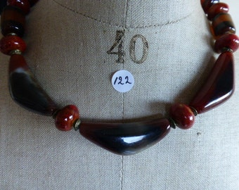 Necklace of red agate triangles