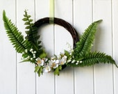 Spring door wreath with hawthorn and ferns, gift for botanical teacher, lily of the valley decor, spring Easter decor, Italian ferns decor