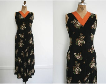 1930s | Vintage 30s Black Floral Rayon Bias-Cut Dress