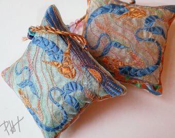 Embroidered, MOSAIC FISH, Lavender Bag, Blues, Pisces, Gift, Host Gift, Collectible, Home decoration, Rose Gold, Birthday gift,