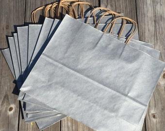 "20 Pack- Metallic Silver Kraft Shopping Bag 16""x6""x12"""