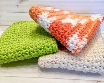 Summer Cotton Crochet Washcloths, Set of 3 Washcloths or Dishcloths, Summer Colors Kitchen Dishcloths