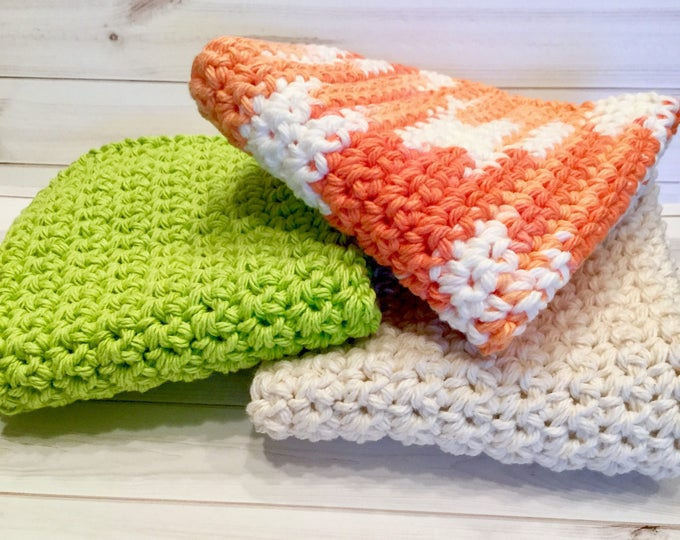 Summer Cotton Crochet Washcloths, Set of 3 Washcloths or Dishcloths, Summer Colors Kitchen Dishcloths