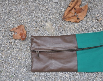 Clutches-leather and fabric handmade Handbag
