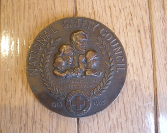 1963 Flame of Life BRONZE MEDAL - Green Cross - Medallion - Metallic Arts - NYC - National Safety Council