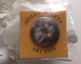 "Art Pin Winged Angels Firenze Museum Spille D' Arte NOS Italy Rosso Fiorentino ""Madonna col Bambino"" Italian Souvenir Traveler Teacher Gift"