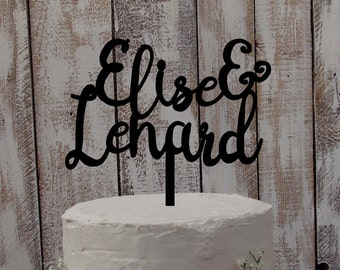 Wedding Cake Topper with your names - personalized / individualized / mr & mrs / wedding decor / cake