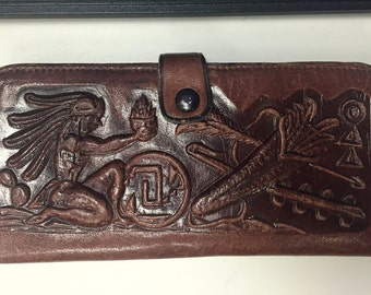 1960's Hand Tooled Leather wallet featuring Aztec designs-