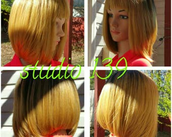 Custom made ombre human hair wig made in the usa
