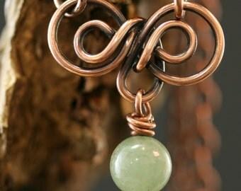 Necklace, Copper Necklace, Aventurine Pendent Necklace, Aventurine Beads Antique Copper Chain Necklace, Copper Pendent Necklace, Chain #1787