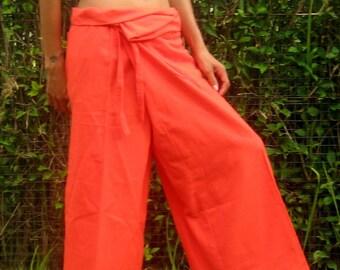Fisherman Trousers Wide Leg Pants Wrap Yoga Pants Thai Fisherman Pants Cotton Pants Women Thai Pants Burning Man Pantaloni Tai * orange * LF