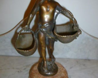 French neoclassical bronze girl with baskets red marble base 1930