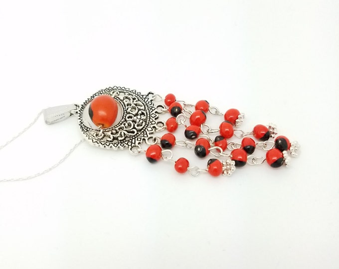 Huayruro necklace Andean necklace ethnic necklace tribal huayruro necklace Andean huayruro jewelry red necklace